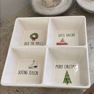 "Rae Dunn ""Skating Holiday"" divided serving tray"